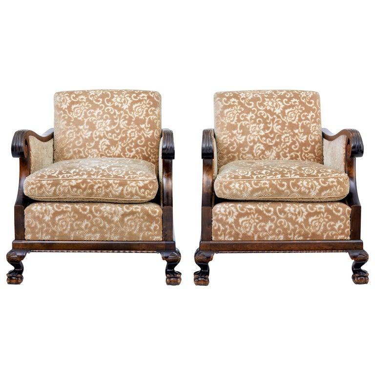 Pair of Art Deco Birch Scandinavian Armchairs For Sale