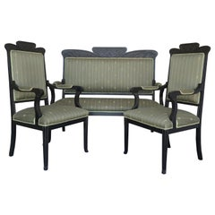 20th Black French Seating Set Sofa and Two Armchairs in the Louis Seize Style