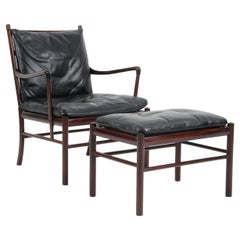 Ole Wanscher Colonial Chair and Ottoman in Mahogany and Original Leather, PJ 149