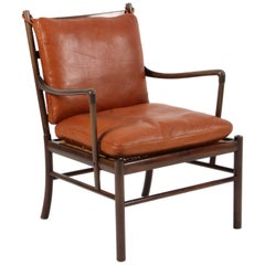 Ole Wanscher Set of Two Colonial Chairs in Mahogany and Cognac Leather, PJ 149