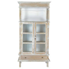 Antique Display Cabinet, Tall, French, Limed Oak Cupboard, Early 20th Century