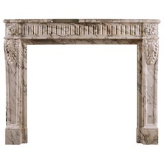 French Louis XVI Fireplace in Serravezza Breccia Marble
