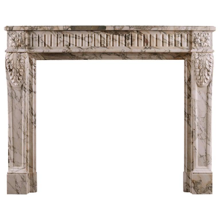 French Louis XVI Fireplace in Serravezza Breccia Marble For Sale
