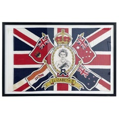 1953 HRH Queen Elizabeth 2nd Coronation Framed Flag