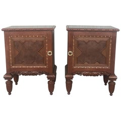Pair of French Art Deco Heavily Hand Carved Bedside Tables Nightstands, 1920s