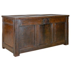 Antique Coffer Oak Joined Chest Three Panel Trunk, Early 18th Century circa 1700