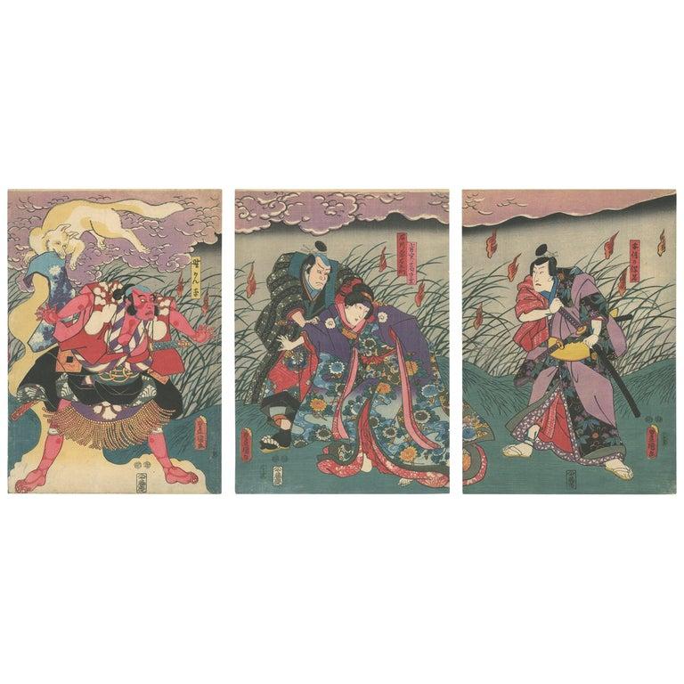Edo Period, Kabuki, Original Japanese Woodblock Print, Toyokuni III, Fox, Myth For Sale