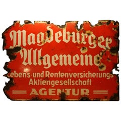 "1930s Advertising Signboard ""Magdeburg Insurance"""