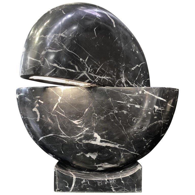 New Black Marble Table Lamp with Base For Sale