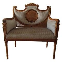 Small Louis XV Sofa Walnut and Pale Beige Velvet Golden Wickerwork
