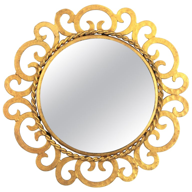 1950s Spanish Mid-Century Modern Gilt Iron Scrollwork Mini Sized Mirror For Sale