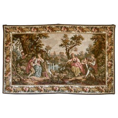 Large Louis-XVI Aubusson Style Machine Made Romantic Tapestry, 20th Century
