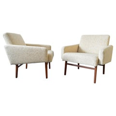 Pair of Crème-Colored, Padded Easy Chairs, Danish Design, Denmark, Midcentury