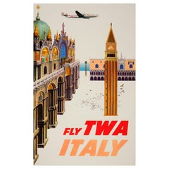Original Vintage Airline Travel Poster Fly TWA Italy Ft San Marco Venice View