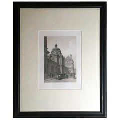 France Paris Black and White Print on Paper Louis XIV Style, Mid-19th Century