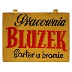 "1950s Advertising Signboard ""Pracownia Bluzek"""