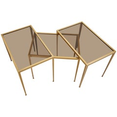 Set of Three Brass and Glass Nesting Tables by Münchner Werkstätten