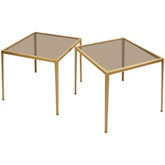 Set of Two Brass and Glass Nesting Tables by Münchner Werkstätten