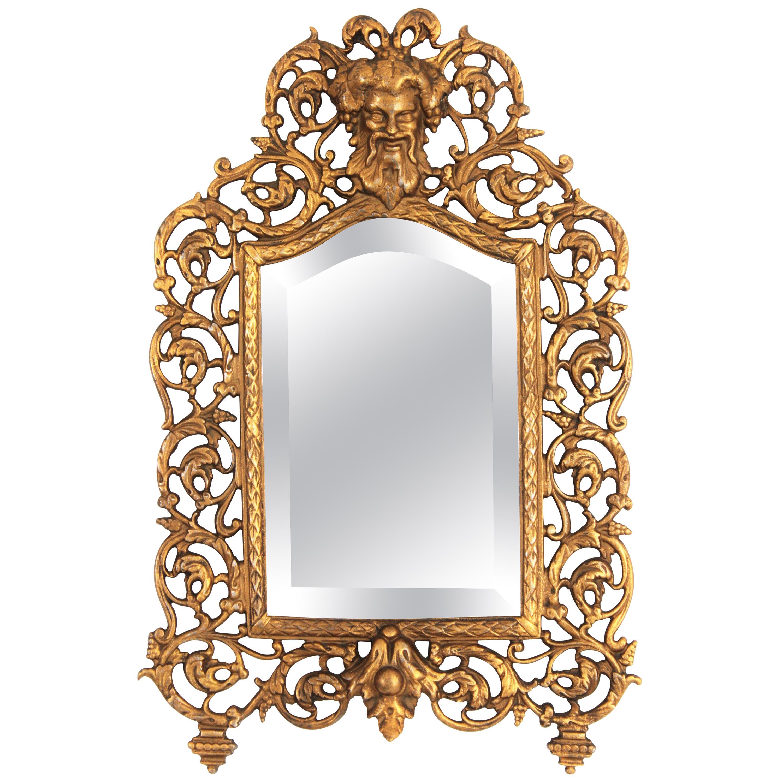 19th Century Victorian Gilt Iron Vanity Beveled Wall Mirror by B & H