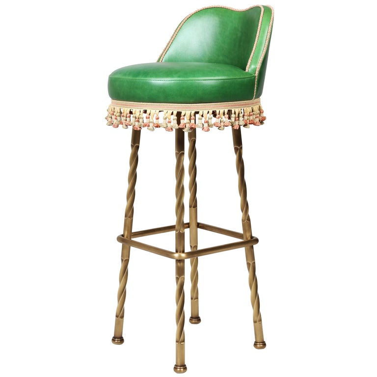 And Objects Horton Bar Stool, Upholstered Leather with Solid Brass Base For Sale