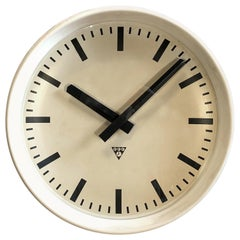 Large White Industrial Bakelite Factory Wall Clock from Pragotron, 1960s