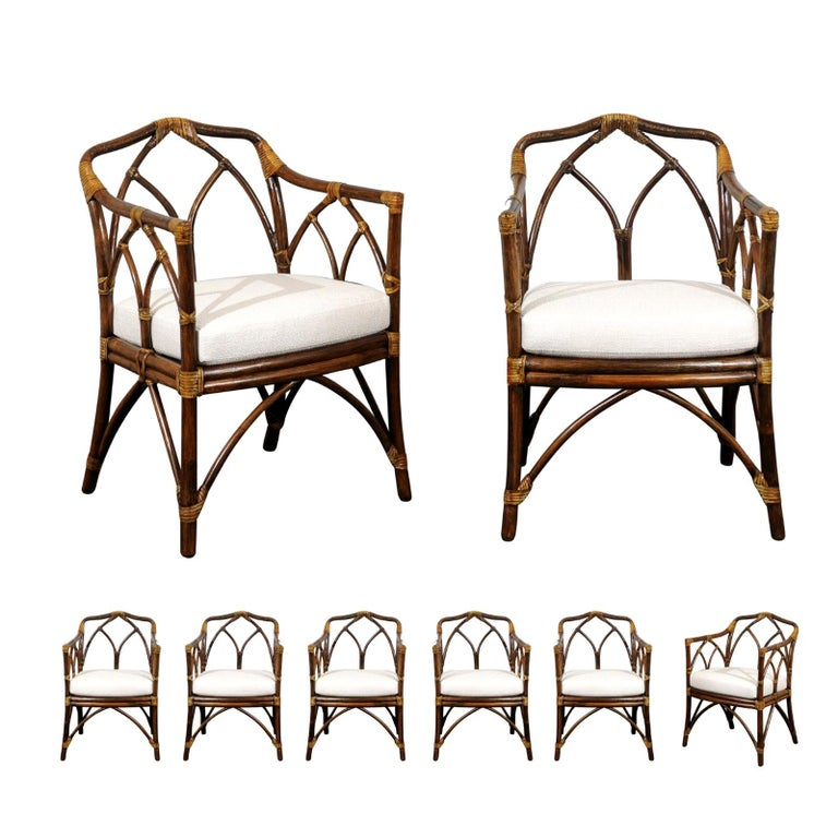 Chic Restored Set of 8 Modern Arm Dining Chairs by McGuire, circa 1975 For Sale