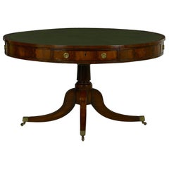 English Regency Antique Leather Drum Rent Round Table, circa 1820