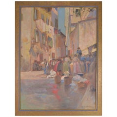 Camille Kufferath, Painting Street View in Nice 1911 Oil on Canvas