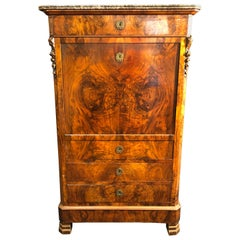 19th Century Louis Philippe Walnut Secretaire, Marble Top, 1840s