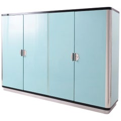 Customised Modernist 4-Door Wardrobe, High-Gloss Lacquer and Handcrafted Wood