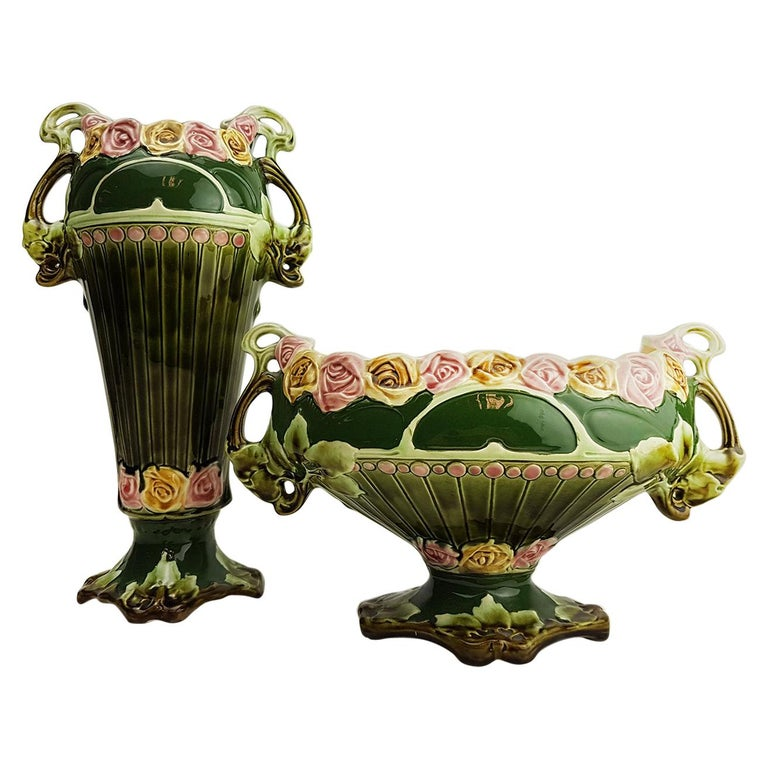 Pair of Art Nouveau Twin Handled Majolica Vases, 1920 For Sale