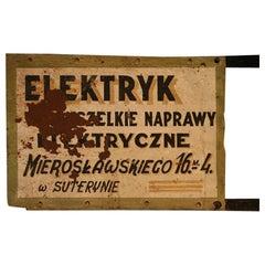"1950s Advertising Signboard ""ELEKTRYK"""