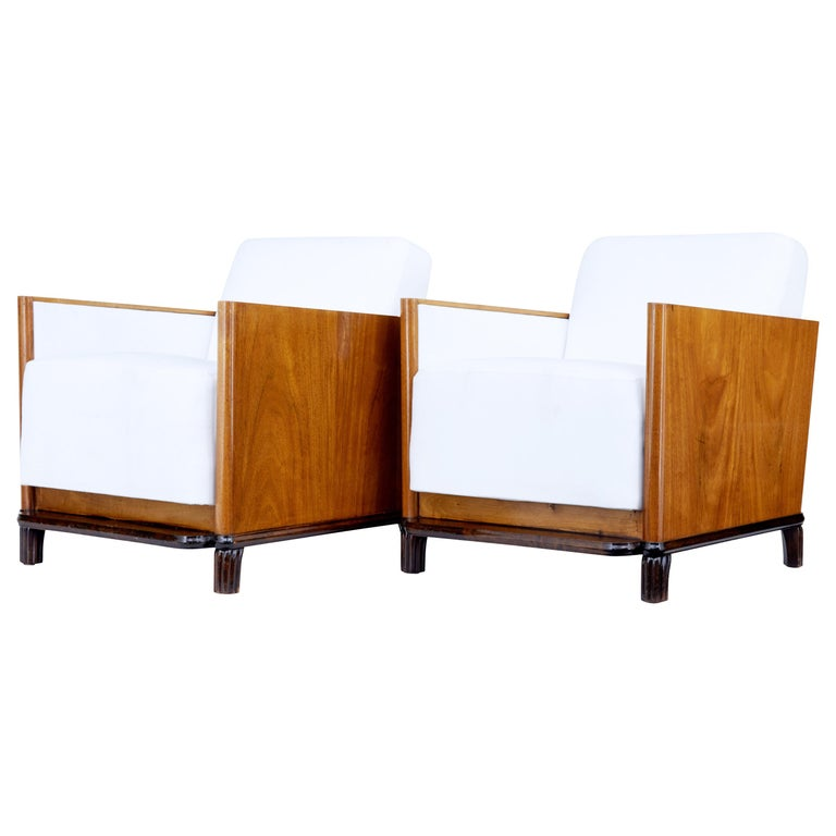 Pair of Art Deco Walnut Club Armchairs For Sale