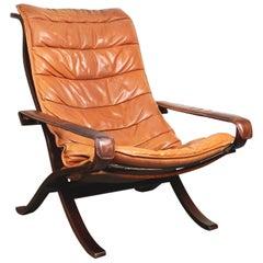 Siesta-Sessel mit Cognacbraunem Leder von Ingmar Relling für Westnofa