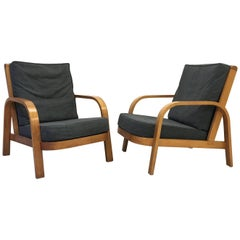 Modernist 1930s Bentwood 'Lamda' Chairs, Hein Heckroth for Dartington Hall, Pair