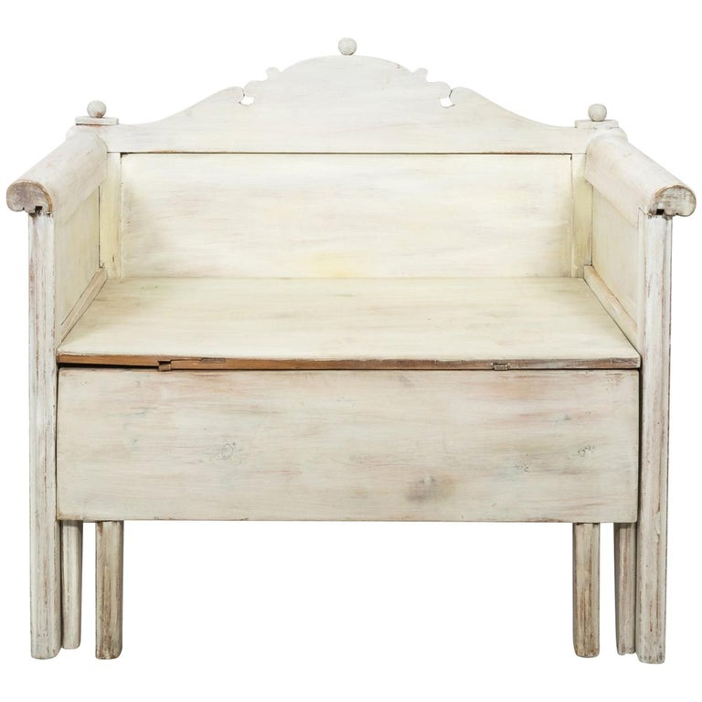 Swedish Painted Storage Bench, circa 1900 For Sale