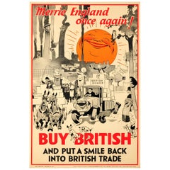 Original Vintage Buy British Poster - Merrie England Once Again! - British Trade
