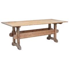 Large Scandinavian 19th Century Pine Refectory Table