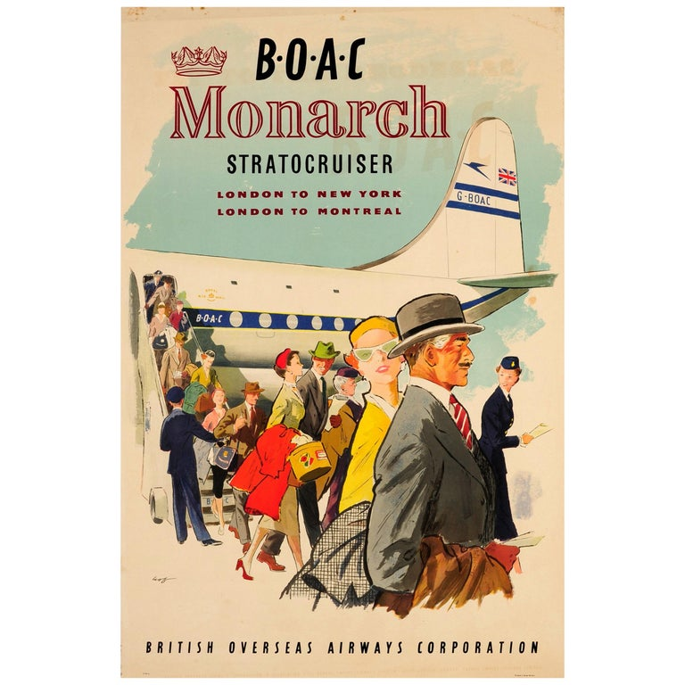 Original Vintage Poster BOAC Monarch Stratocruiser London To New York & Montreal For Sale