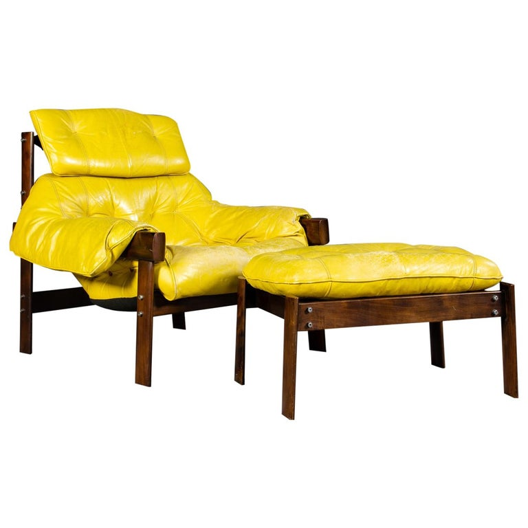Percival Lafer Rosewood And Distressed Tufted Yellow: Percival Lafer Lounge Chair And Ottoman, Lafer Furniture
