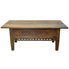 Swedish Gustavian Oak Table with Pierced Fret Work on Apron, circa 1810