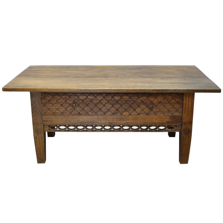 Swedish Gustavian Oak Table with Pierced Fret Work on Apron, circa 1810 For Sale