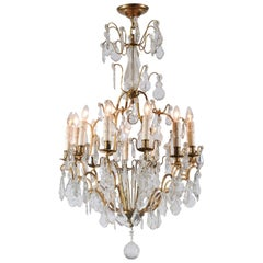 French Late 19th Century Crystal 12-Light Chandelier with Brass Armature