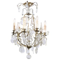 French 19th Century Six-Light Crystal Chandelier with Scrolled Brass Armature