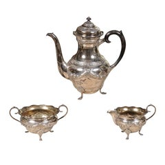 Danish 1930s Johannes Siggaard Three-Piece Silver Coffee Set with Ebony Handle