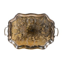 English 19th Century Silver Plate Tray with Chased Décor and Lateral Handles