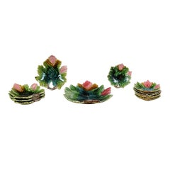 Set of 11 French Majolica Leaf Dinner Plates with Pink, Green and Brown Décor