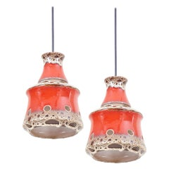 Pair of Ceramic Pendant Lamp with Lava Glaze, Germany, 1970s