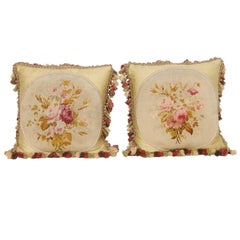 19th Century Aubusson Tapestry Pillows with Bouquets of Roses and Tassels