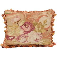 French 19th Century Aubusson Tapestry Pillow with Bouquet of Roses and Cording